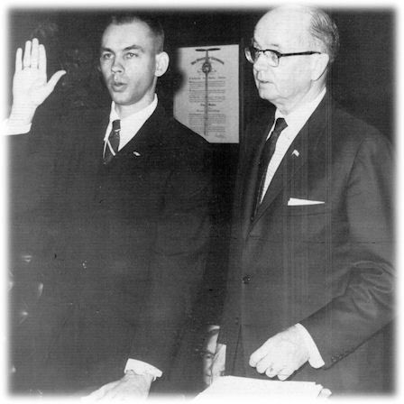 Judge Ed Reddick being sworn in 1970 by Governor Lester Maddox